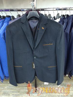 Пиджак укороченный, приталенный цвета морской волны