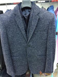 Светло-серый приталенный,  укороченный пиджак  Philipp Plein на одной пуговице