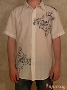 Белая, тонкая рубашка с чёрными узорами Doramafi