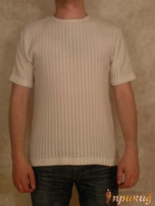 Белая футболка с вертикальными вкраплёными полосами MCR