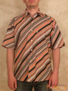 Рубашка с оранжевыми косыми полосками и карманом с длинным рукавом Antonio Diego