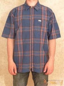 Рубашка синяя в клеточку на молнии Pacifico