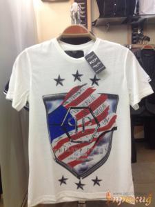 Белая футболка PHILIPP PLEIN с американским флагом. Ограниченный выпуск.
