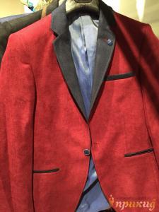 Пиджак красный с черным лацканом ARMANI