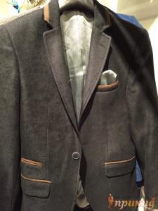 Пиджак чёрный с коричневыми вставками бархатный