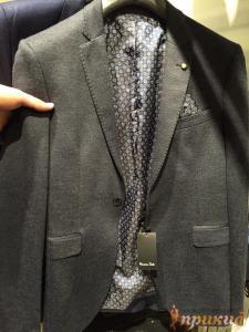 Пиджак чёрный на одной пуговице с отстрочкой лацкана Massimo Dutti