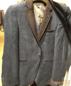 Пиджак серо-синий с черными лацканами на одной пуговице ZARA