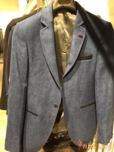 Пиджак серо-синий на одной пуговице ZARA