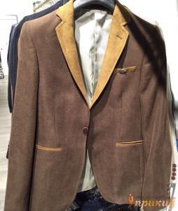 Пиджак коричневый с бежевыми лацканами EMPORIO ARMANI