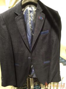 Пиджак чёрный с синими вставками на одной пуговице