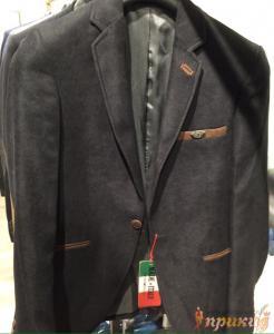 Пиджак чёрный с коричневыми вставками EMPORIO ARMANI