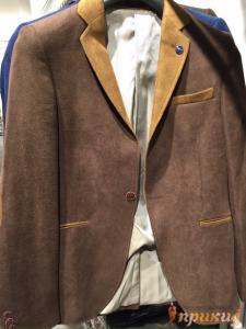Коричневый, приталенный,укороченный  пиджак с бежевыми вставками и лацканами на одной пуговице ZARA