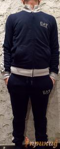Синий спортивный костюм EMPORIO ARMANI c белой полосой