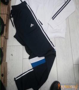 Спортивный костюм ADIDAS с белой курткой и черными брюками