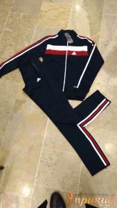 Чёрный спортивный костюм ADIDAS с белыми и красными полосами