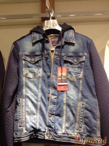 Куртка синяя джинсовая со стрейчем с капюшоном DSQUARED