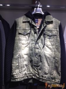 Куртка серая с тёмно-синими рукавами джинсовая со стрейчем и капюшоном DSQARED