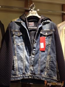 Куртка синяя с чёрными рукавами джинсовая со стретчем и капюшоном DSQARED