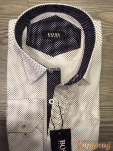 """Белая классическая приталенная """"Slim Fit"""" сорочка с чёрными точками HUGO BOSS"""