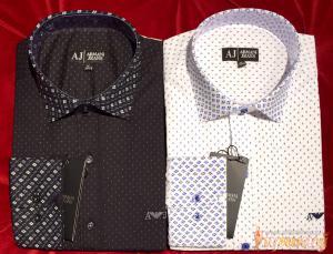 Классические сорочки с выделящимся воротом и рукавами ARMANI JEANS разных расцветок