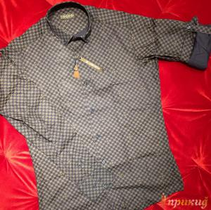 Классическая приталенная сорочка в сине-белый квадратик LOUIS VUITTON
