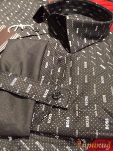 Рубашка чёрная с надписями HUGO BOSS и других расцветок