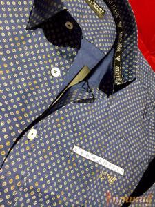 """Синяя рубашка """"Slim Fit"""",приталенная ARMANI JEANS"""