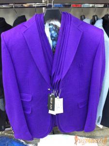Пиджак приталенный,укороченный ярко -сиреневый с двумя клапанами справа Philipp Plein