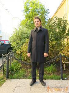 """Пальто мужское """"Boldman""""темно-серого цвета,утепленное сентипоном."""