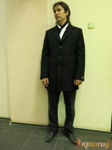 """Черное сильно приталенное укороченное пальто """"MADLEN"""""""