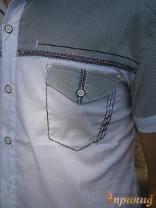 Белая летняя рубашка с серым верхом и коротким рукавом GUANTO