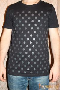 Чёрная футболка в серый крупных горох  PIAZAITALIAMAN