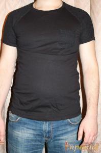 Чёрная футболка с сетчатым карманом и сетчатыми плечами PIAZAITALIAMAN