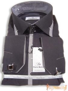 Рубашка с клетчатыми вставками с запонками Pierre Martin,сильно приталенная(Slim Fit))