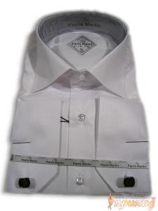 Кипельно-белая приталенная рубашка PIERRE MARTIN(Slim Fit),с запонками.