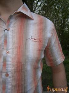 Морковно-серо-белая летняя рубашка GUANTO