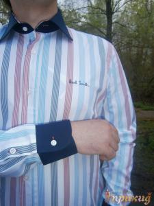 Рубашка с длинным рукавом с вертикальными берюзовыми, красными и синими полосками на белом PAUL SMITH