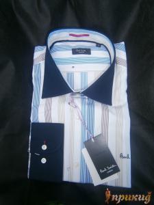Рубашка приталенная с длинным рукавом, с вертикальными серыми и синими полосками на белом PAUL SMITH