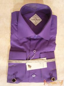 Приталенная сиреневая сорочка Pierre Martine slim fit под запонки