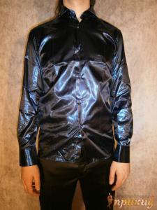 Синяя блестящая переливающаяся до серого цвета рубашка Pierre Martin