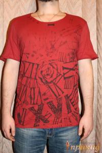 Красная футболка с принтом розы и греческих цифр PIAZAITALIAMAN