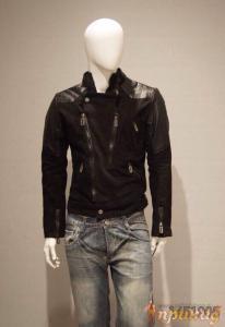 """Куртка чёрная PHILIPP PLEIN с косой молнией(""""косуха"""") и изображением черепа на спине"""