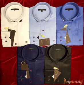 Рубашки GUCCI с французским воротником разных цветов.