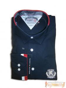 "Рубашка TOMMY HILFIGER тёмно-синяя с красно-белыми манжетами и воротником ""slim fit"" приталенная"