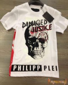Белая футболка PhilippPlein с надписью Damaged Justice