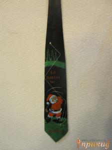 Галстук Санта-Клаус играющий в гольф